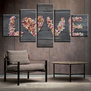 Love Flowers Barn Wood Style Five Piece Canvas Wall Art Home Decor