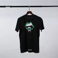 ONETOW Chrome hearts green lips big white teeth chest chest hooded cotton round neck lovers short-sleeved T-shirt