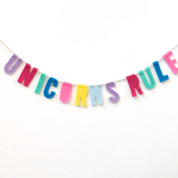 Unicorns Rule felt wall hanging, colorful party banner in lavender, pink, spring green, blue and yellow