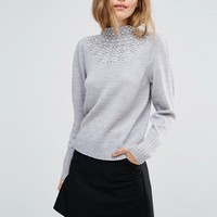 ASOS Sweater with Jewels and High Neck at asos.com