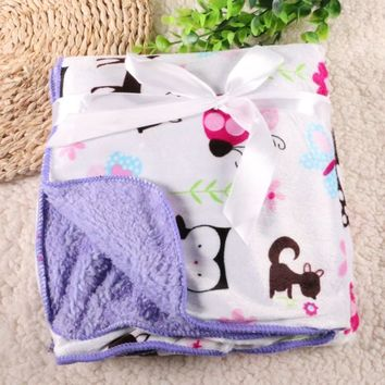 Owl Deer Squirrel Animal Printed Baby Blankets Super Soft