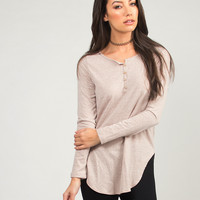 Simple Front Button Long Sleeve Top - Medium