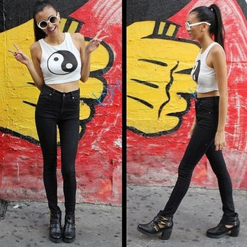 new arrival hot sale New Women Crop Tops Sexy Ladies Sleeveless Yin Yang Summer Shorts