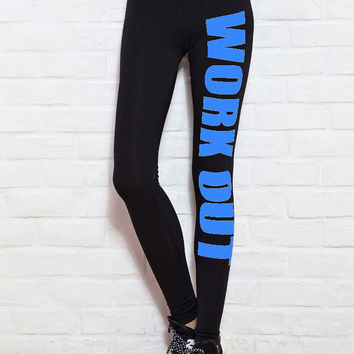 "Blue ""WORK OUT"" Leggings"