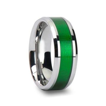 Mens Tungsten Wedding Band Textured Green Inlay Beveled Polished Finish - 8mm
