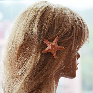 Starfish Hair Clip, Starfish Hair Accessories, Peach  Starfish Hair, Beach Hair, Mermaid Hair, Beach Weddings, Starfish Hair Accessories