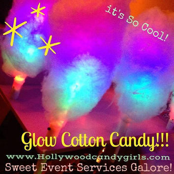 40 Large Glow Cotton Candy Favors, Glow in the dark light up Cotton Candy Sticks, Neon, Black Light Party Sticks