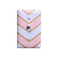 Peach Gold White Chevron Light Switch Plate Cover / Girls Room Nursery Decor / Glitz Shimmer Teen Tween Bedroom / By Slightly Smitten Kitten