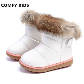 Winter Fashion Child Girls Snow Boots Shoes Warm Plush Soft Bottom Baby Girls Boots Co