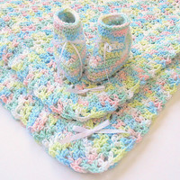 Pastel  Baby Blanket Booties Set Infant Boy Slippers Newborn Girl Afghan Shower Gift  Blue Yellow Pink White Children Clothing 3 - 6 Months