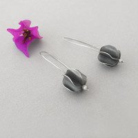 Lantern earrings, flower botanical dangle earrings, sterling silver minimalist, windmills of your mind