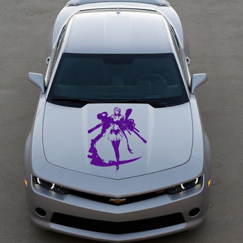 Anime Car Decal, Car Sticker Vinyl Anime Sticker Woman gun pistol Anime 10332-2