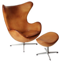 Egg Chair and its ottoman by Arne Jacobsen, edited by Fritz Hansen in 1958