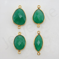 Green Onyx  Gold Plated Sterling Silver Bezel Station Connector and Charm, 1 piece