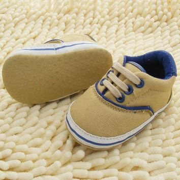 0-18M Toddlers Soft Sole Crib Shoes Infants Baby Lace Up Sneaker Prewalker Shoes