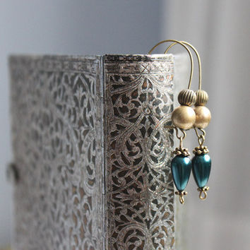 Oriental Boho Earrings // beaded dangle earrings in bronze blue - handmade jewelry for her - gift women, blue, boho jewelry