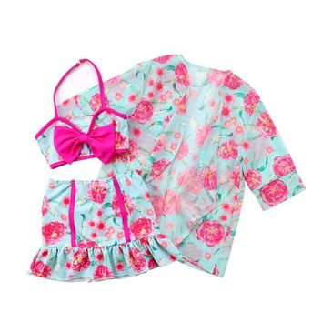 3pcs. Floral Print Baby Girls Swimwear + Toddler Swim Cover Up