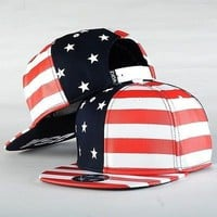 USA American Flag Adjustable Snapback Hat