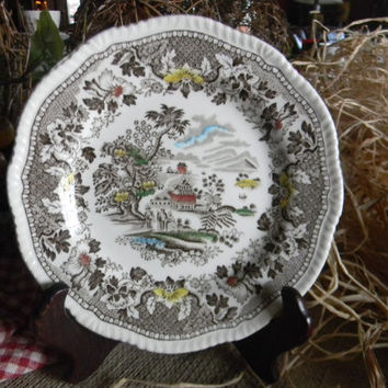 Woods Seaforth Brown Transferware Berry Candy Bowl or Dish Flowers Ships