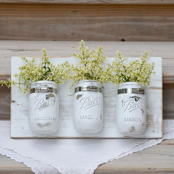 White mason jar wall planter / reclaimed wood decor / distressed wall storage organizer / shabby chic cottage kitchen bathroom
