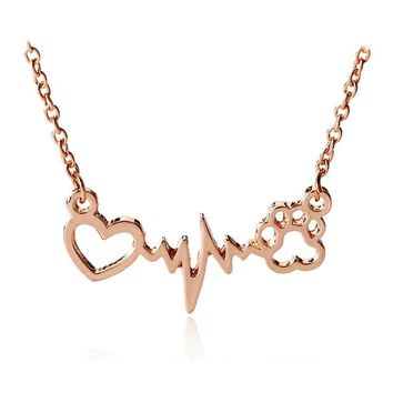 Hot sale I Love Dog Paw ECG Collar Rose Gold Silver Puppy Pet Cat Collar Kitty Paw Claw Pendant Heart Animal Jewelry Gift