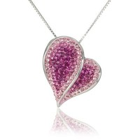 "Amazon.com: Carnevale Sterling Silver Pink Heart with Swarovski Elements Pendant Necklace, 18"": Jewelry"