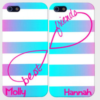 Best Friends Infinity Case- Best Friends Iphone Case-Personalized iPhone 5 Case. iPhone 4 Case - Two Case Set