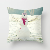 But, Snowmen Can't Talk Throw Pillow by RDelean