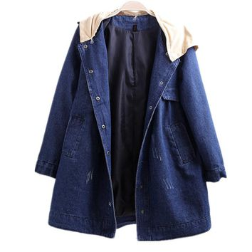 Women Spring Autumn Winter jean Coat Long Sleeves Windbreaker Button Up Coat Outwear Hooded Denim Jacket
