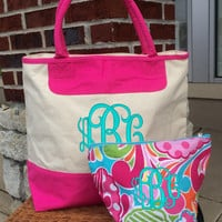 "Monogrammed ""Pink Punch"" Print Canvas Zippered Cosmetic Makeup Bag Font shown INTERLOCKING in light pool"