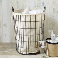 Linen Lined Wire Hamper - Round