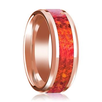Beveled 14k Rose Gold Wedding Band for Men with Red Opal Inlay & Polished Finish - 8MM