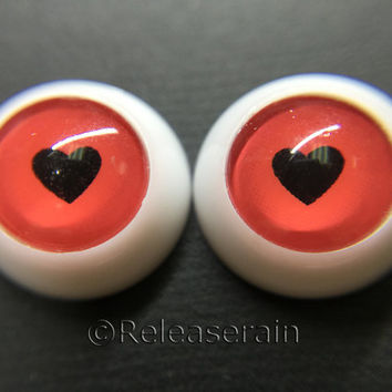 Releaserain Doll Acrylic Eyes Round Shape I Love You Heart 12mm for BJD Dollfie, Reborn Dolls Free shipping