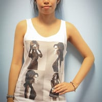 Amy Winehouse Soul Singer Shirt White Tank Top Tanktop Tshirt T Shirt Women Size M,L,XL