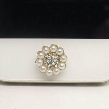 BEST SELLER 1PC Bling Crystal Pearl Framed Flower Jewel iPhone Home Button Sticker Charm for iPhone 4,4s,4g,5,5c Cell Phone Charm Lover Gift