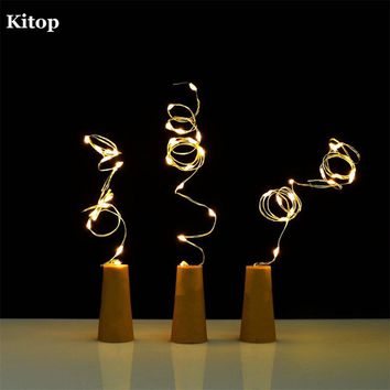Kitop 10pcs Wine bottle Solar String lights 1M 1.5M (10 or 15Leds) outdoor waterproof home decoration Xmas Lights Garden Party