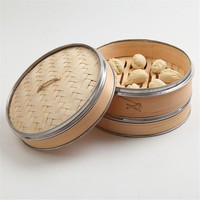 10'' 2 Tiers 1 Lid Natural Woven Bamboo Steamer Banding Dim Sum Vegetables Rice Cooker Home Kitchen Cooking Tools Cookware Set