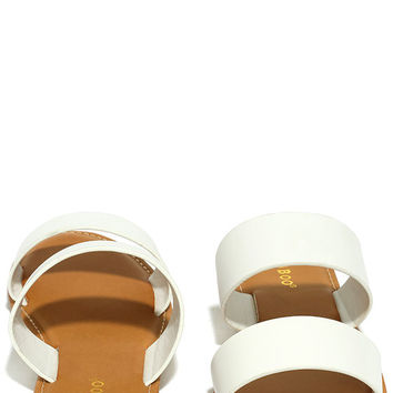 Sally White Slide Sandals
