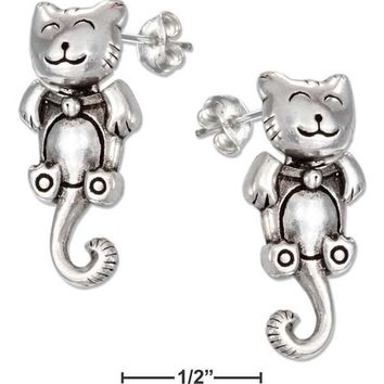 Sterling Silver Moveable Happy Kitty Cat Earrings With Curly Tail
