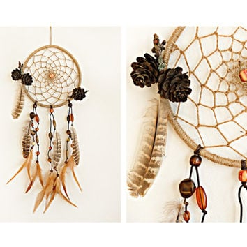 Dreamcatcher, Rustic dream catcher, Wood dreamcatcher, Natural dreamcatcher, Boho dream catcher, Talisman, Feathers, Gypsy, Hippie, Nursery