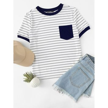 Patch Pocket Striped Ringer Tee Navy
