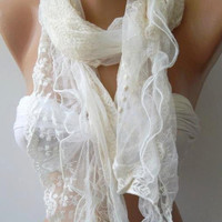 Creamy White ..... Lace and Elegance Shawl.....scarf