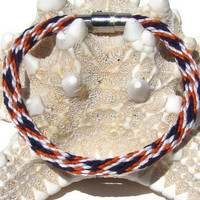 NEW-- Navy and dark orange spot pattern kumihimo bracelet with stainless steel magnetic clasp