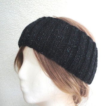 Sparkly Black Earwarmer Headband, Wool Earwarmer, Women Teen Girls, Warm Ears, Hat Alternative