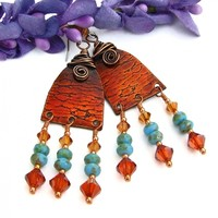 Red Orange Boho Chandelier Earrings, Copper Spirals Swarovski Turquoise Handmade Jewelry