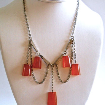 Bakelite Art Deco Necklace, Dangle Swag, Amber Silver Tone Vintage