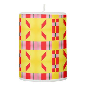 Double Slants in Checkered Frames Pillar Candle