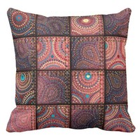 """Patchwork Denim/Girly"" THROW PILLOW"