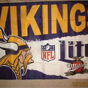 NEW MINNESOTA VIKINGS MILLER LITE 3x5 FEET FLAG BANNER 1996 Peterson Vikes BEER NEW 3ft x 5ft Football Hockey USA Flag