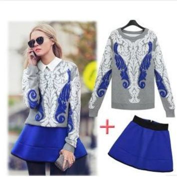 Women's Fashion Pullover Sweater High Waist Zippers Skirt Two Piece Set [22462791706]